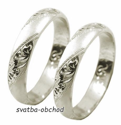 Snubní prsten P4R15 - bílé zlato,