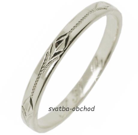 Snubní prsten S31R - bílé zlato,