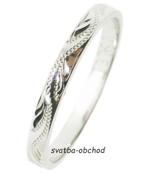 Snubní prsten S33R - bílé zlato,