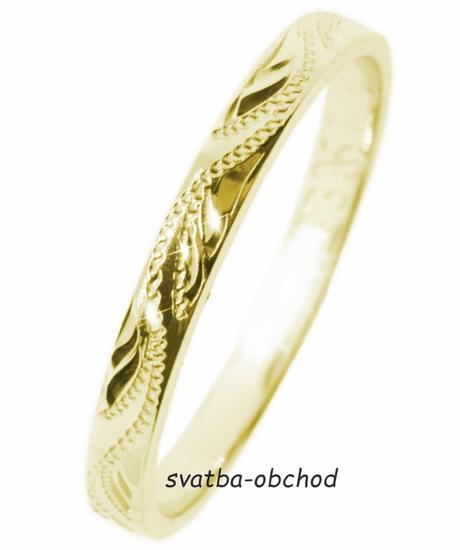 Snubní prsten S33R - žluté zlato,