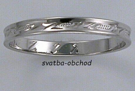 Snubní prsten U2R1 - bílé zlato,