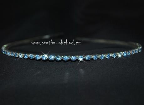 Štrasová čelenka - modrá (č. c02),