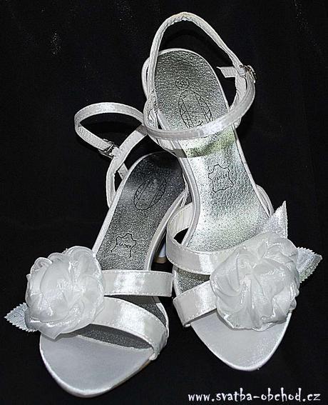 Svatební - saténové sandálky (č.01), 37