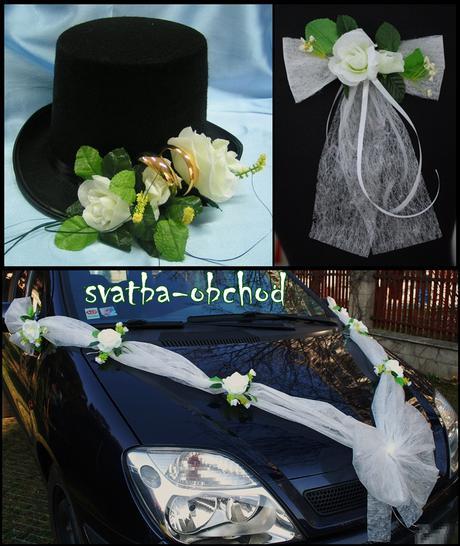 Svatební set na dvě auta (bílé růže),