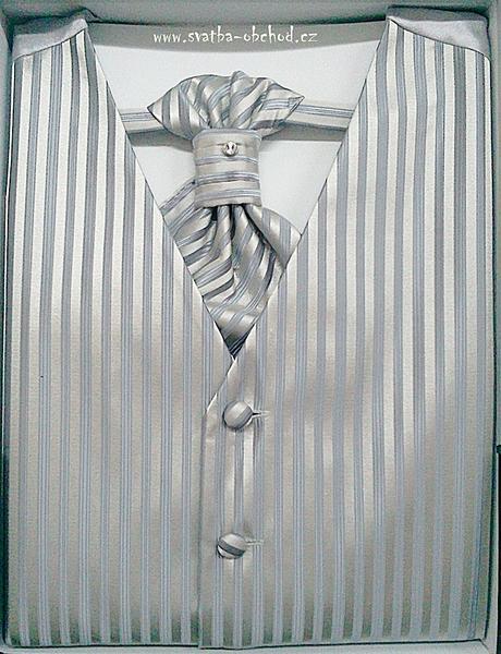 Vesta + regata + kapesníček - stříbrné (č. 408), 44