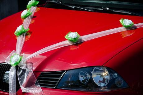 Sv.ružová svadobna vyzdoba na auto / auta,