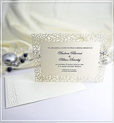 Béžové svatební oznámení s krajkovým motivem  G977,