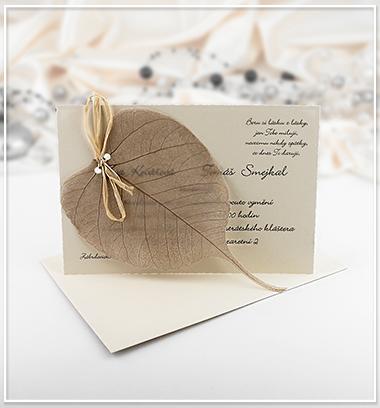 Béžové svatební oznámení s listem stromu - G951,