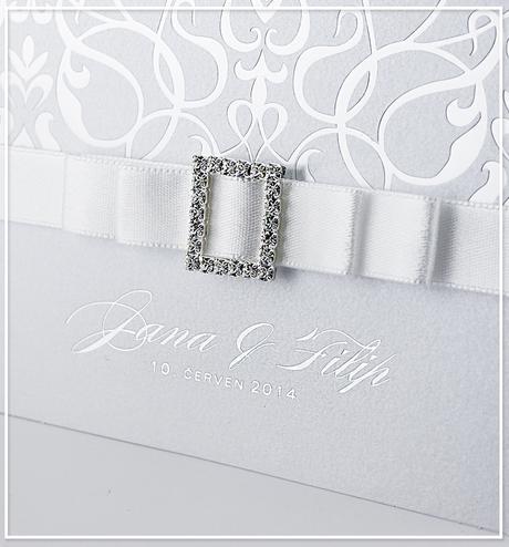 Bílé rozkládací svatební oznámení - G987B,