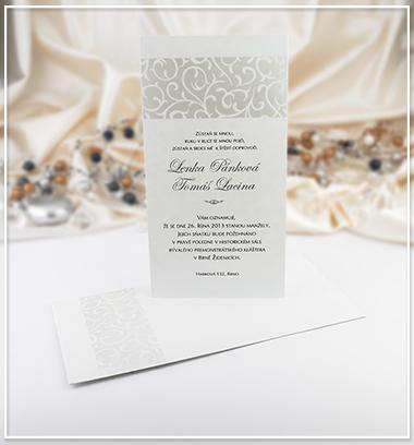 Bílé svatební oznámení s nádechem perleti - G949,
