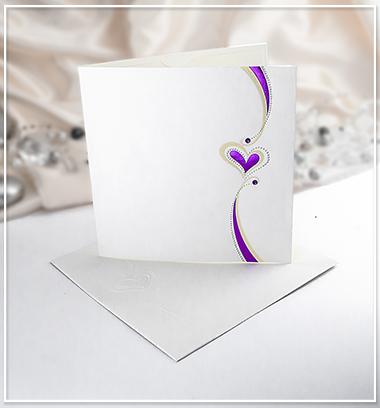 Bílé svatební oznámení se srdíčkem - G905,