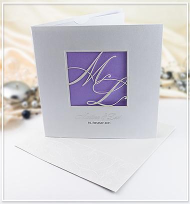 Bílo fialové SO s monogramem snoubenců - G972,