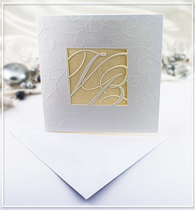 Bílo zlaté SO s monogramem snoubenců - G973,