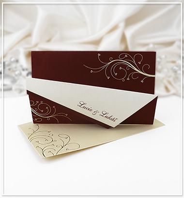 Červené (bordó) svatební oznámení - G913,