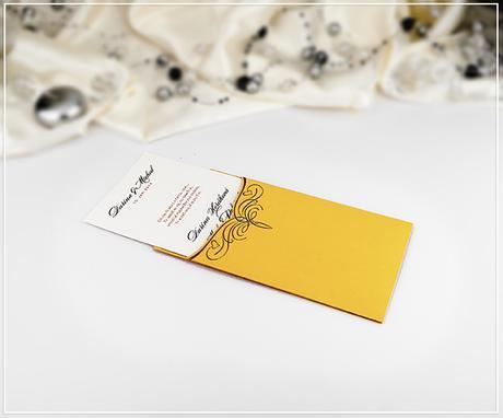 Oranžové svatební oznámení ve tvaru kapsy - G980,
