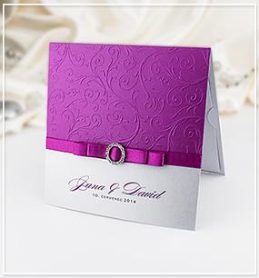 Růžovo-bílé svatební oznámení s ornamenty - G986,