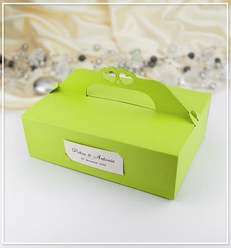 Svatební krabička na výslužku v zelené barvě K110,