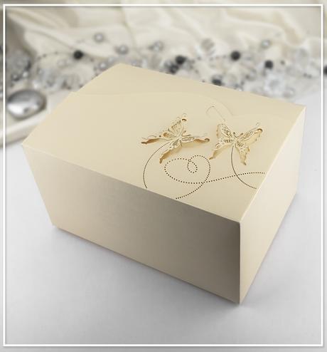 Svatební krabička na výslužku zlatá perleť - K953,