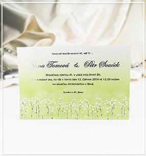 Zelené svatební oznámení ve formě karty - G988,