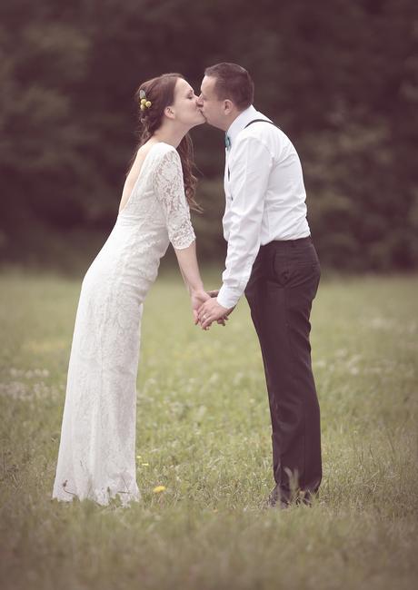 Jednoduché na štýl retro svadobné šaty, 36