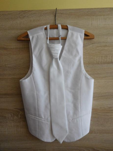 bílá pánská vesta + regata + kapesníček vel. 48, 48