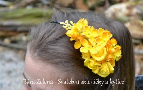 květinová čelenka - žlutá,
