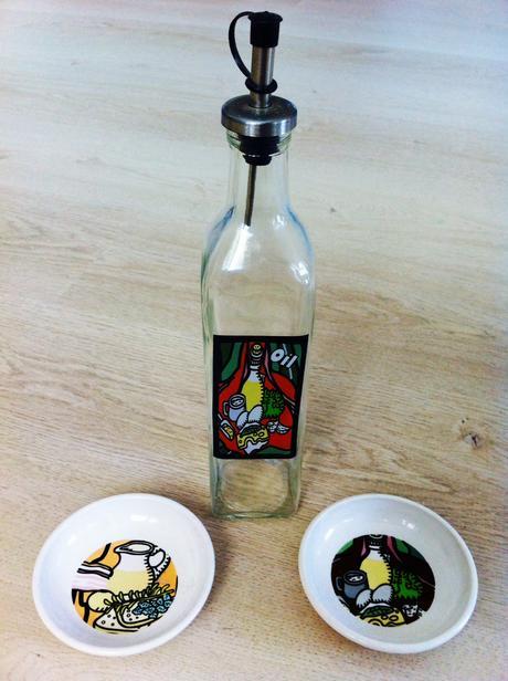Fľaška na olivový olej s miskami,