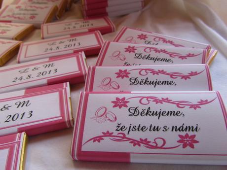 Čokoládové poděkování na přání - růžové,