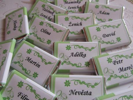 čokoládové svatební jmenovky dle vašeho přání,