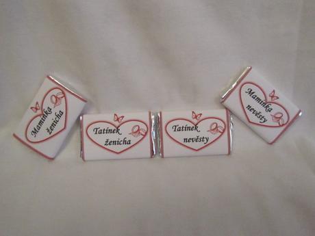 čokoládové svatební jmenovky na přání- červené,