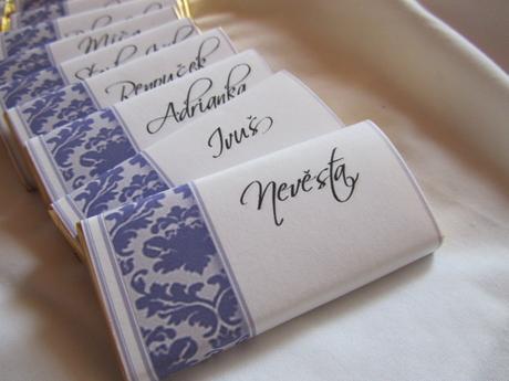 Čokoládové svatební jmenovky na přání - Lila,