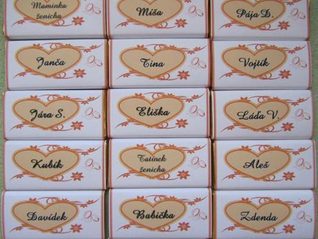 Čokoládové svatební jmenovky na přání-oranžové,