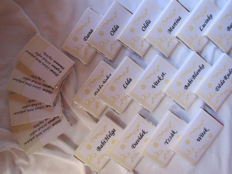 Čokoládové svatební jmenovky na přání- vanilka,