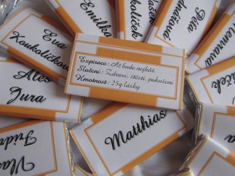 Čokoládové svatební jmenovky velké na přání orange,