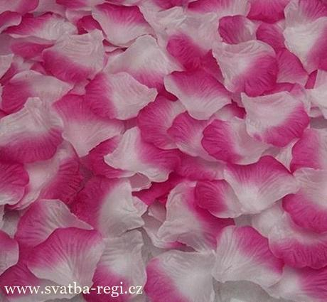plátky květů růžovo bílé-250ks,
