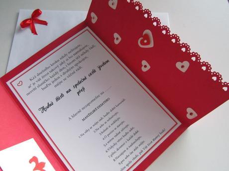 svatební blahopřání- SRDÍČKA- červené,