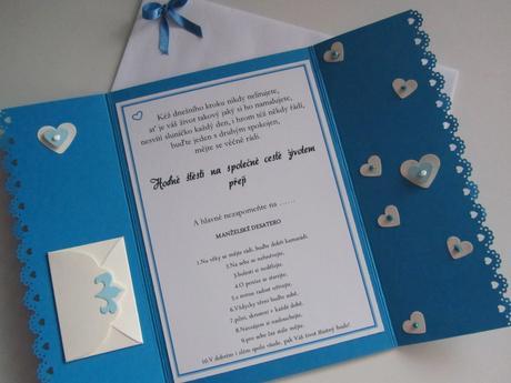 svatební blahopřání- SRDÍČKA- modré,