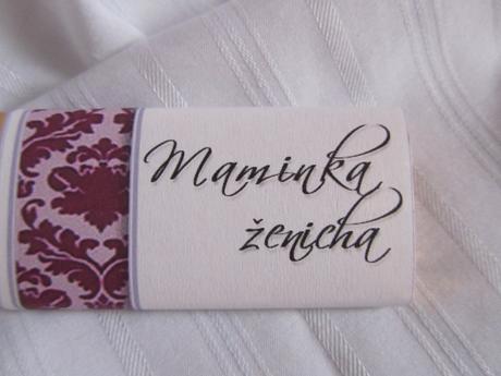 svatební čokoládové jmenovky na svatební stůl,