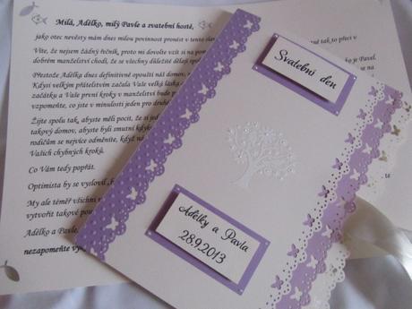 Svatební desky- butterfly Ivory, champagne lila,