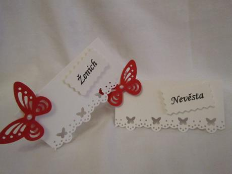 svatební jmenovky na přání - butterfly červený,