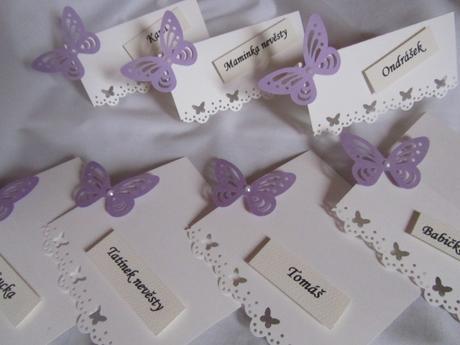 Svatební jmenovky na přání - champagne lila,
