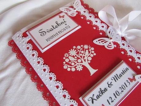 Svatební kniha hostů-butterfly, červená 2.,