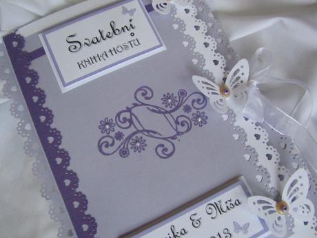 svatební kniha hostů- butterfly lila 2,