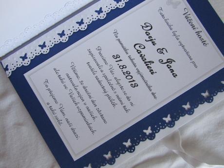 Svatební kniha hostů-butterfly, modro-šedivo-bílá,