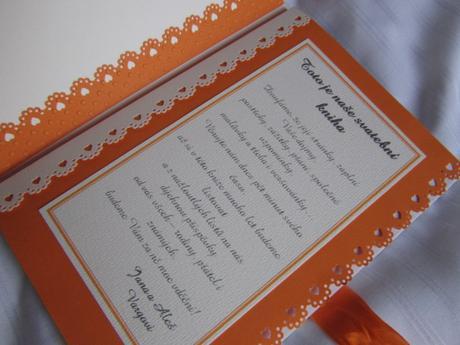 Svatební kniha hostů- butterfly oranžová- perličky,