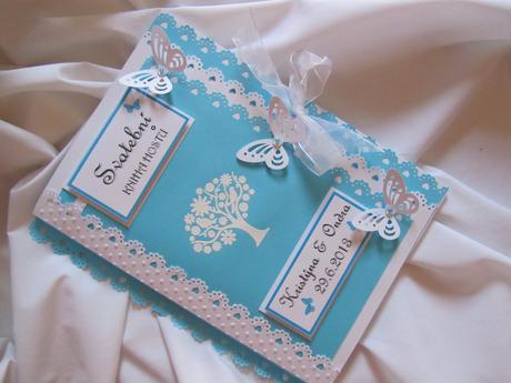 svatební kniha hostů- butterfly tyrkys,