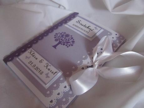 Svatební kniha hostů- lila bez motýlů,