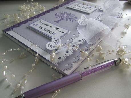 svatební kniha hostů lila s luxusní propiskou,