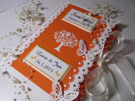 svatební kniha hostů- oranžová,