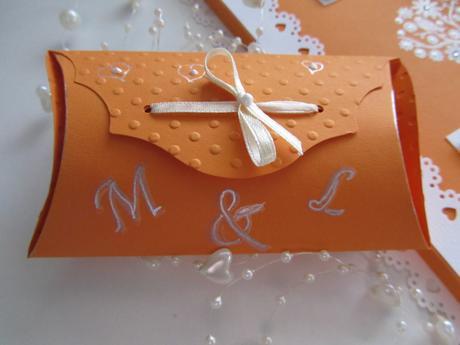 Svatební kniha hostů oranžová + krabička,